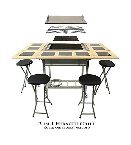 BBQ Hibachi Grill with Flat Top...