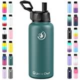 Umite Chef Sports Water Bottle with New Wide Handle Straw Lid, Vacuum Insulated Stainless Steel Thermo Mug, 32 oz Double Walled Wide Mouth Water Bottle,Leak Proof, Sweat Free (Mint Green)