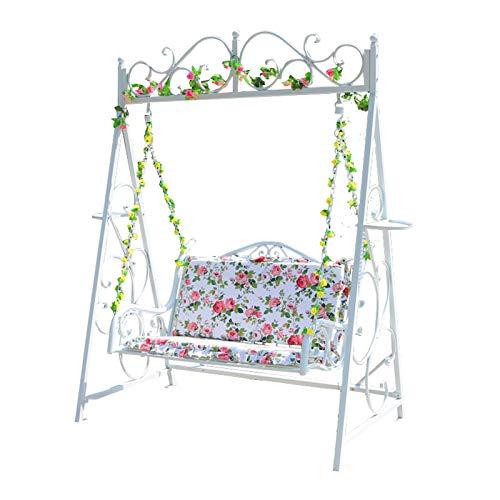 DNNAL Patio Swing Chair, Balkon Chair Lounge Chair Outdoor Courtyard Garten Schaukelstuhl Schmiedeeisen Kinder Gartenmöbel