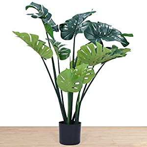 Silk Flower Arrangements Artificial Monstera Deliciosa Plant 43 Inch Tall Artificial House Plant Faux Monstera Swiss Cheese Plant with Large Leaves Fake Tropical Palm Tree for Indoor Outdoor Home Office Garden Modern Gift