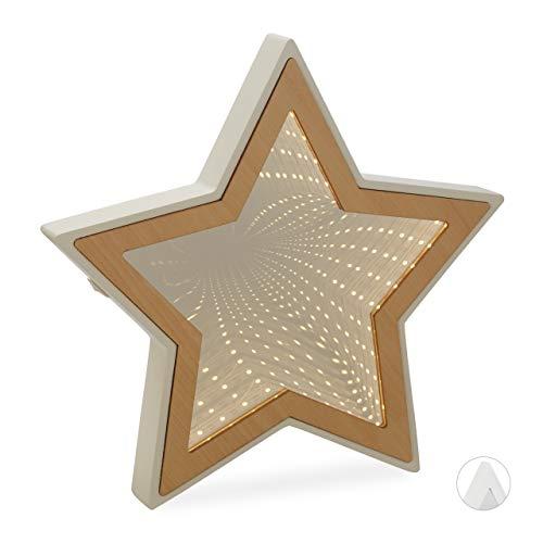 Relaxdays Unendlichkeitsspiegel Stern, LED Dekospiegel als Stimmungs- oder Nachtlicht, 3D, Batterie, 28x29x3 cm, natur