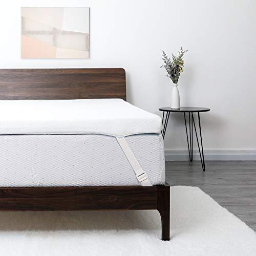 Lauraland Colchón Topper 135 x 190 cm, 2 en 1 Topper Viscoelástico de 6 cm de Espesor, Topper Colchón de Confort Suave con Funda de bambú Lavable