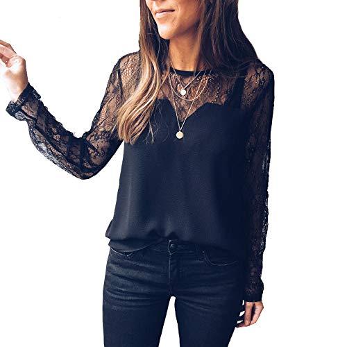 Blusa Mujer Bordado Transparente Blusa con Canesú Top Mujer Camisa Moderna Manga Larga Transparente