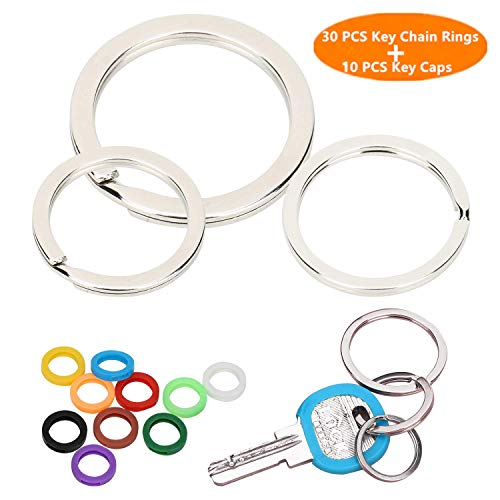 30 Pieces Flat Key Chain Rings Metal Split Keychain Ring for Home Car Keys Organization Attachment, 10 Pieces Plastic Key Caps Covers Tags