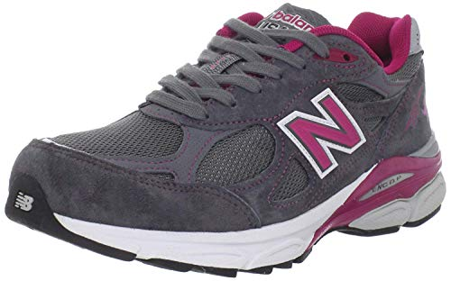 New Balance Women's W990 Running Shoe,Grey/Pink,5 B US