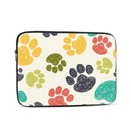 Mac Case Colourful Doodle Dog Paw Animal Macbook Air 13in Case Multi-Color & Size Choices10/12/13/15/17 Inch Computer Tablet Briefcase Carrying Bag