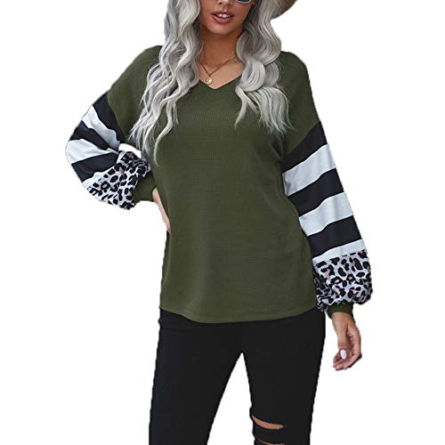 Herbst/Winter Damen V-Ausschnitt Loose Top T-Shirt Langarm Pullover Damen
