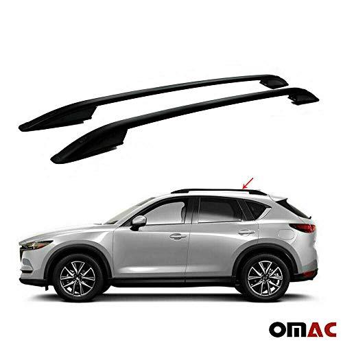 OMAC GmbH Aluminium Schwarz Dachreling Dachgepäckträger für CX-5 2017-2020 2 teilig Relingträger Gepäckträger Fahrzeugspezifisch