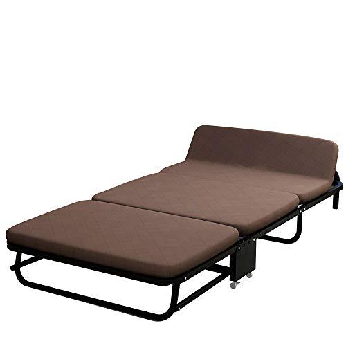 QinWenYan Outdoor Folding Bed Indoor And Outdoor Folding Bed Office Durable Indoor Balcony Patio Garden Outdoor Beach Portable Double Bed Siesta (Color : Brown, Size : 180X65X26CM)