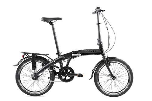 TAKASHI Seven, Bicicletta Pieghevole Shimano Nexus, Nero Opaco, Foldable