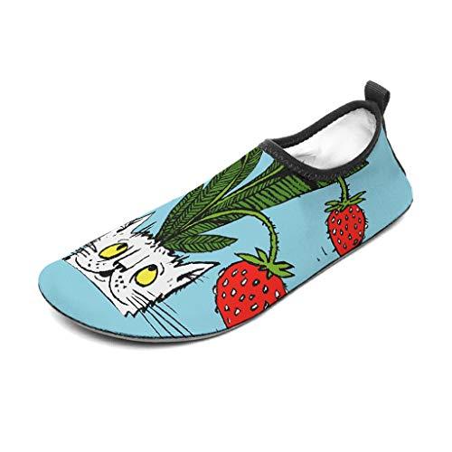 Wraill Strandschuhe Badeschuhe Wasserschuhe Barfussschuhe Socken Erdbeere Pflanze Katze rutschfest Surfschuhe für Unisex Damen Herren White 40/41