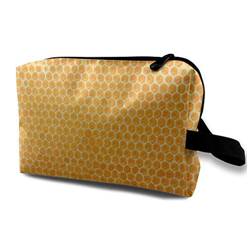 ZZguowuque Makeup Bags For Women,Travel Makeup Bag,Small Cosmetic Bag Yellow Comb Sealed Honeycomb View Honey Closeup Bee Beeswax Food