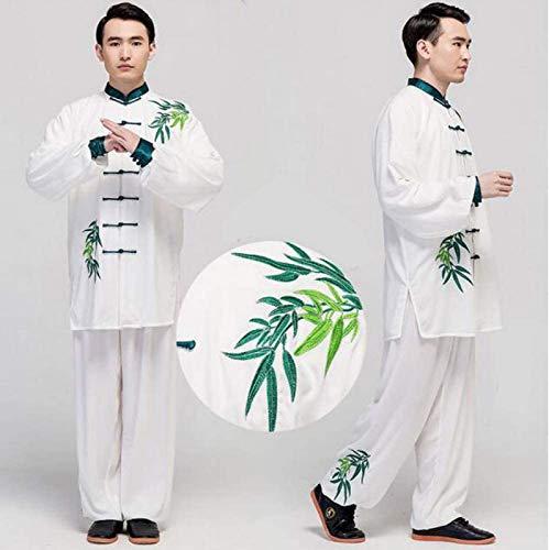 Guiob, costume da yoga tradizionale cinese per arti marziali Tai Chi uniforme kung fu, da meditazione per uomini e donne, bianco5-XS
