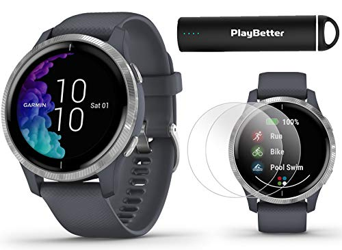 Garmin Venu (Granite Blue/Silver) Power Bundle   +HD Screen Protectors (x4) & PlayBetter Portable Charger   AMOLED Display, Spotify  ...