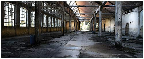 Wallario XXL Poster - Alte Industriehalle leerstehend und einsam in Premiumqualität, Größe: 80 x 200 cm