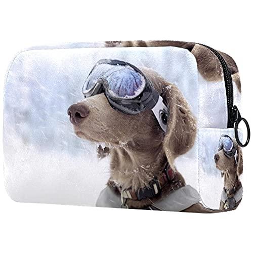 Bolsa de maquillaje para mujer, bolsa de maquillaje de viaje grande, bolsa de aseo de viaje para niñas, bolsa de maquillaje, bolsa de cepillo, bolsa de aseo reutilizable para perros con gafas(2)