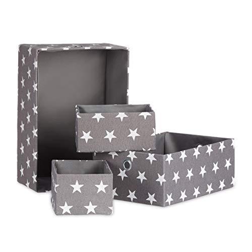 Relaxdays Stoffboxen 4er Set, Aufbewahrungskorb, Regalbox, stapelbar, ohne Deckel, H x B x T ca. 16 x 25,5 x 36 cm, grau