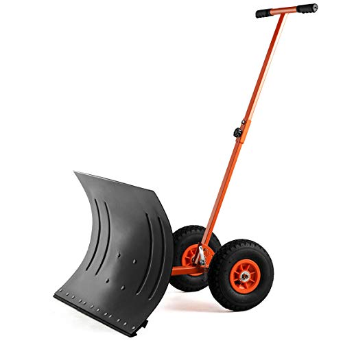 Lowest Prices! Adjustable Hand-Push Rolling Snow Pusher Shovel with 2 Large Wheels Durable Metal Str...