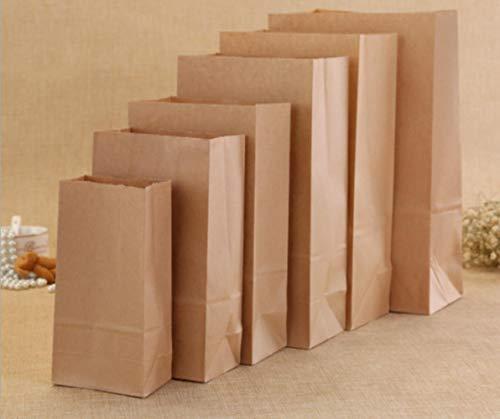 TOSISZ Kraftpapier Taschen Braunes Papier Lebensmittel Geschenkbeutel Sandwich Brot Getrocknete Früchte Keks Backen Süßigkeiten Handgemachte Seife Verpackung Take Out Taschen, Kraft, 100 Stück