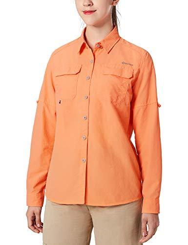 NAVISKIN Damen Bluse UPF 50+ Sonnenschutz Langarmbluse Outdoor Ultraleicht Wanderhemd schnelltrocknend Langarmshirt Orange Size M