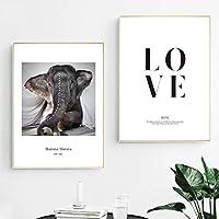 象の赤ちゃんの愛は北欧のポスターを引用し、壁の芸術のキャンバスの絵画の装飾の写真をリビングルームの芸術の印刷の装飾のために引用します-(50X70cm)X2フレームなし