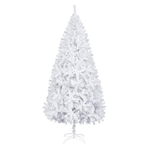 XM&LZ 7FT White Christmas Tree with 950 Branches Iron Leg,PVC Prelit Artificial Christmas Tree Xmas Tree Metal Stand for Indoor Outdoor Snowman Porch