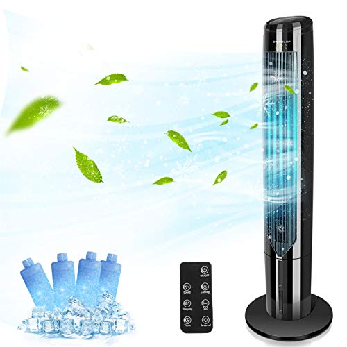 Aigostar Cooling Tower Fan with Remote Oscillating Quiet Bladeless Evaporative Air Cooler Humidifier for Room, Water Tank, LED Display, 1-9H Timer, 40', Black