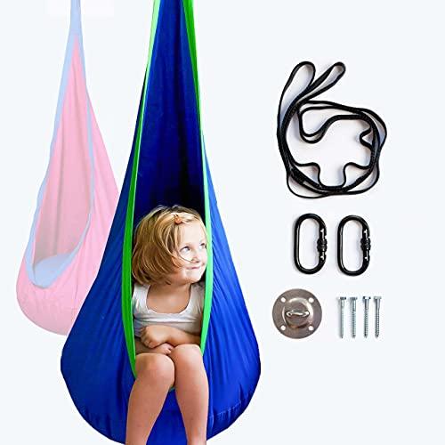 Columpio colgante para niños – Incluye hardware – ideal como un columpio sensorial o columpio de terapia para autismo., Algodón, Azul