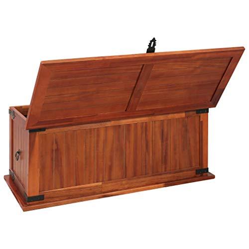Festnight Aufbewahrungstruhe aus Akazienholz 90 x 45 x 40 cm   Aufbewahrungsbox Holztruhe Auflagenbox Kissenbox Braun - 3
