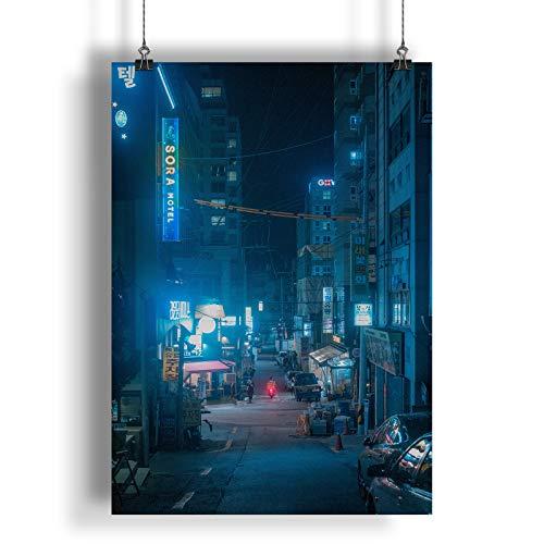 INNOGLEN Nachtleben in Einer asiatischen Stadt A0 A1 A2 A3 A4 Satin Foto Plakat a1693h
