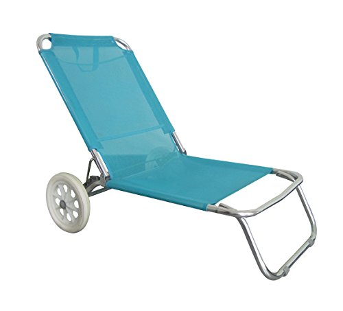 O'Beach Liegestuhl/Strandliege mit Rädern und Vordach, Blau