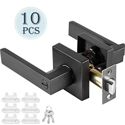 Casnuova Maniglia Porta Ingresso Leva Quadrata con Chiave 10 pezzi Maniglia Per Porta D'Ingresso Maniglia per Porta Spessore 35-45 mm