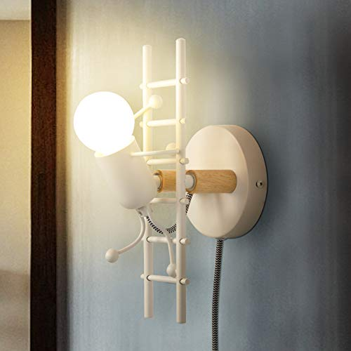 Wall Lamp Sconce Decorative for Living Room, Modern White Wall Lights Fixture Stairs Design with UL Listed Plug in Cord Metal E26 Holder Base for Bedroom, Kids, Reading(No Bulb)