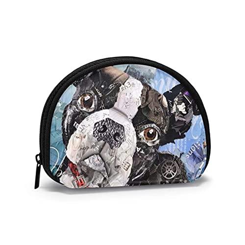 Bla French Bulldog Art Painting Cute Printed Themed Change Purse Cute Shell Storage Bag Girl Wallets Bule Coin Purses Key Pouch Gifys Woman Novelty