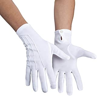 PARTY DISCOUNT Handschuhe mit Knopf & Biesen, weiß