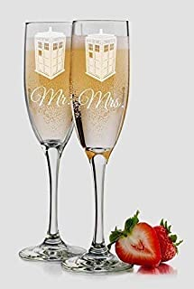 Dr. Who Inspired Tardis Police Box Set of 2 Toasting Glasses 6 ounce Champagne Flutes Personalized Custom Engraved Mr and Mrs including Choices of Names and Date