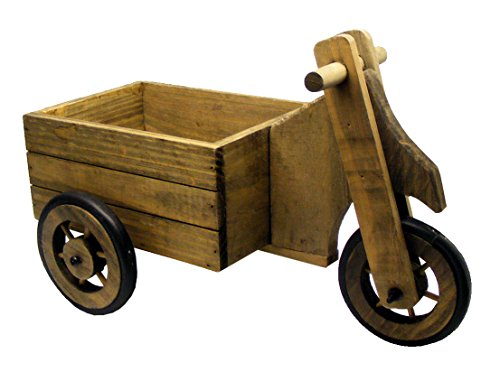 Personalised Beautiful Rustic Wooden 3 Wheel Flower Cart Tricycle Planter Engraved Gift - Enter Your Own Custom Text