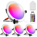 MagicLight Smart WiFi & Bluetooth Recessed LED Ceiling Lamp with Remote, 6 Inch 15W Color Changing Smart LED Ceiling Lamp, Compatible with Alexa and Google, 4 Pack