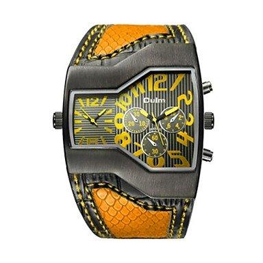 XKC-watches Herrenuhren, Damen Paar Modeuhr Sportuhr Armbanduhren für den Alltag Chinesisch Quartz Wasserdicht Armbanduhren für den Alltag Echtes Leder Band Luxus (Farbe : Gelb)