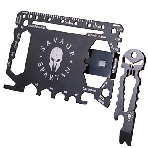 Savage Spartan Multitool Wallet | 36 in 1 Multifunctional Toolcard Pro with Credit Card Holder Money Clip & Sleek Minimalist Stainless Steel Skull Keychain Pocket Survival Multi-Tool for Men (Best Multitool For The Money)
