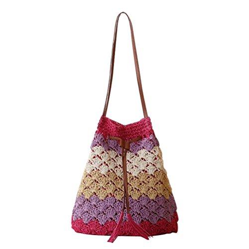 YOUJIA Damen Stroh Gewebt Schultertasche Sommer Reise Freizeit Retro Umweltfreundlich Shopper Strandtasche (Rot, 52 * 42 * 20cm)