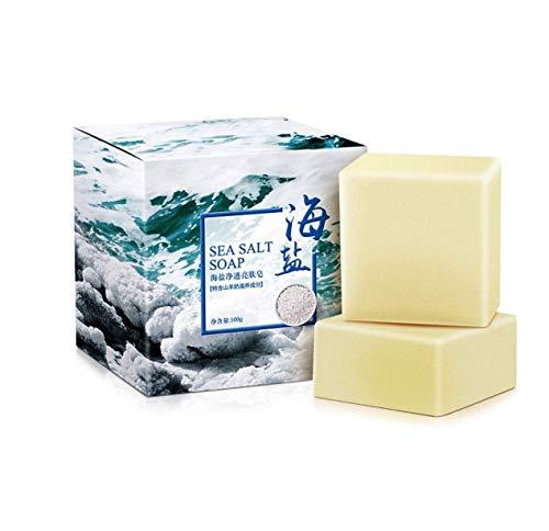 Savon fait à la main Sel de mer Acariens anti-acné Contrôle du lait de chèvre Savon à l'huile essentielle 100 g 2 PC