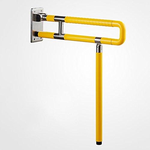 Weq Reposabrazos de baño plegables de acero inoxidable para personas mayores con discapacidad, barandilla segura y confiable, color opcional, color: amarillo, tamaño: 60 x 71,5 cm
