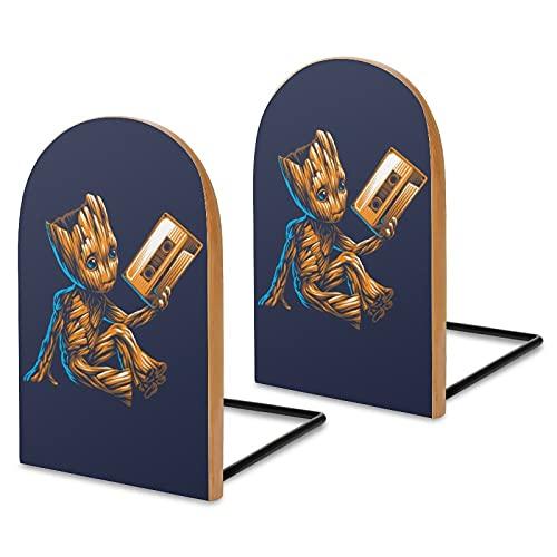 Baby Groot Music - Fermalibri in legno, una coppia di scrivanie, librerie da ufficio, divisorie spesse, idee di stoccaggio