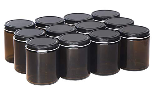 North Mountain Supply 9 Ounce Amber Glass Straight Sided Mason Canning Jars - With 70mm Black Metal Lids - Case of 12