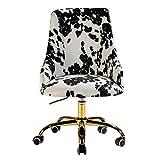 Office Chair Upholstered Modern Wheel Swivel Task Chair for Home Work Study Living Room Bedroom Comfy Desk Chair/Black