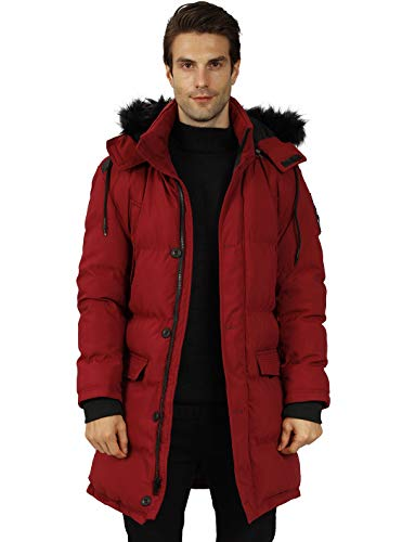 WULFUL Men's Winter Parka Anorak Jackets Long Thicken Padded Coat with Detachable Fur Hood