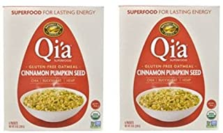 Qi'a Superfood Organic Hot Oatmeal - Cinnamon Pumpkin Seed - 2 Boxes with 6 Packets Each Box (12 Packets Total)