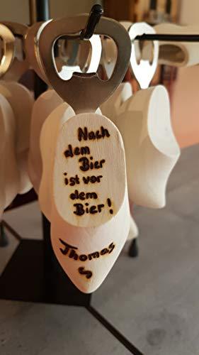 Flaschenöffner Holzschuh - inkl. Namensbeschriftung