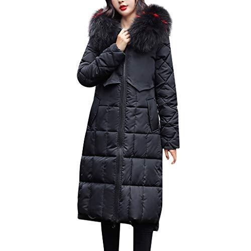 Sylar Abrigo de Algodón para Mujeres Abrigo Mujer Invierno Largos Elegantes Abrigos de Plumas Mujer Abrigo Chaqueta Slim Fit Espesar Pelaje Collar Parka Abrigo de Cremallera con Capucha de Outwear